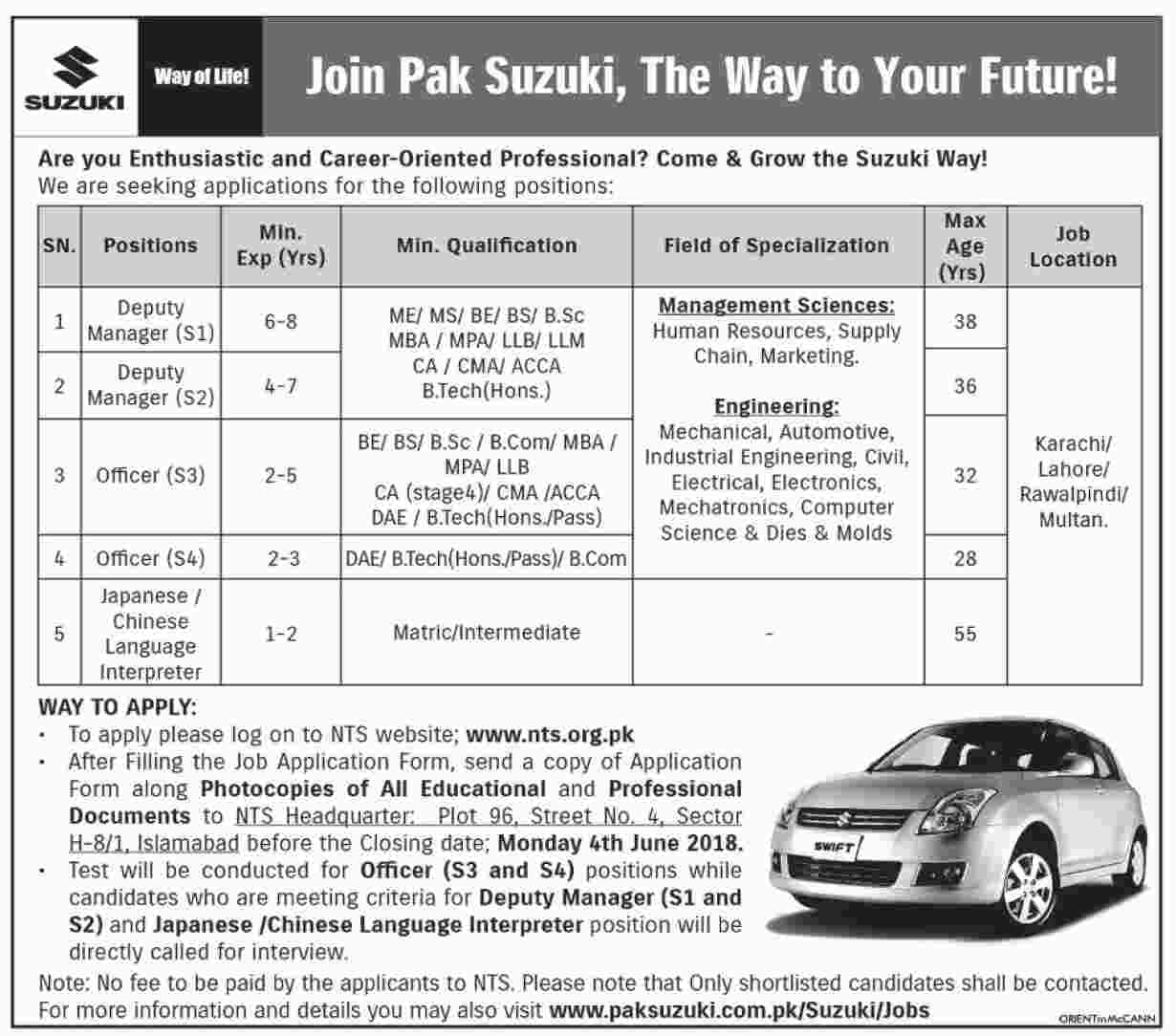 Pak Suzuki Jobs 2018 NTS Application forms Roll no slips download