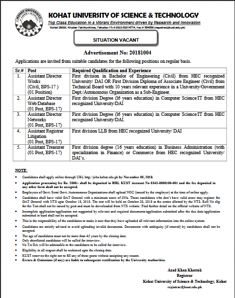 NTS Kohat University of Science & Technology Jobs 2018