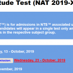 NTS National Aptitude Test NAT XI 2020 Apply Online Roll No Slip Download