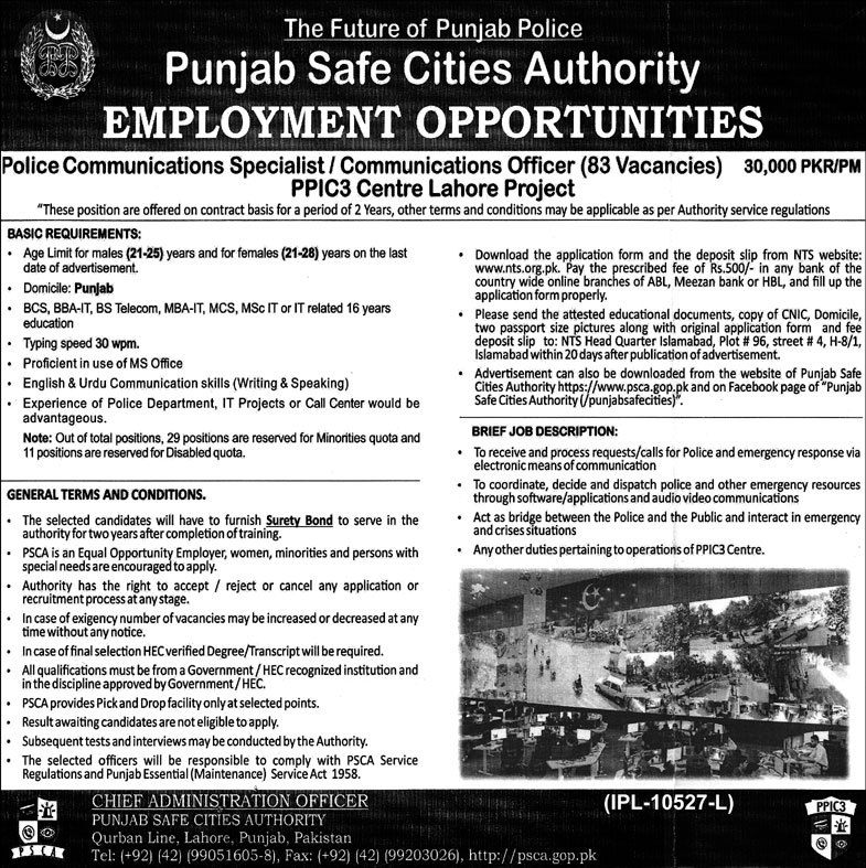 Punjab Police Safe Cities Authority NTS jobs 2020 Application form Roll No Slip