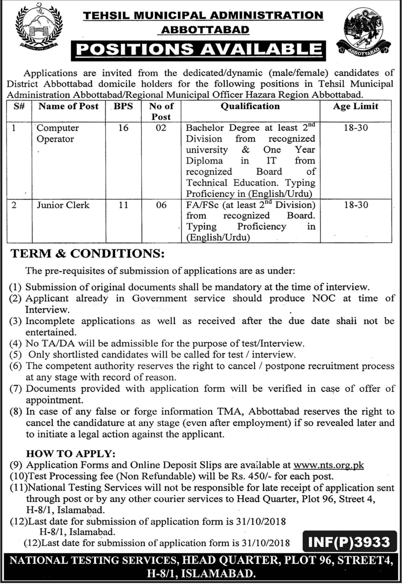 Tehsil Municipal Administration NTS Jobs 2018 Application Form Download
