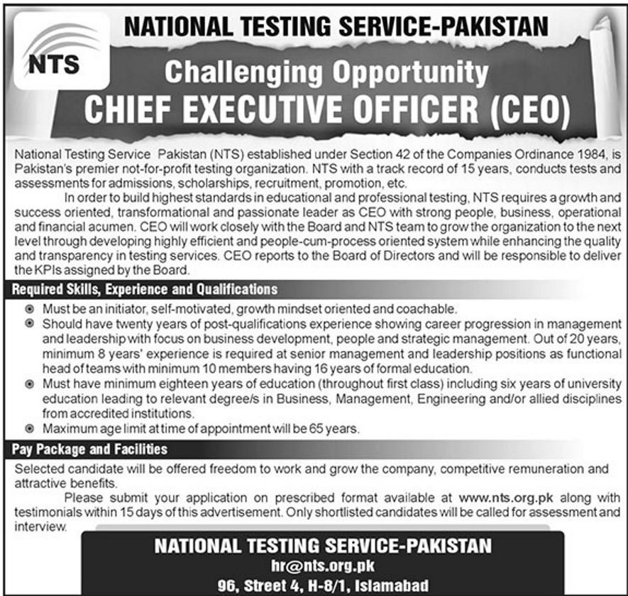 Chief Executive Officer NTS Jobs 2018 Online Application Download