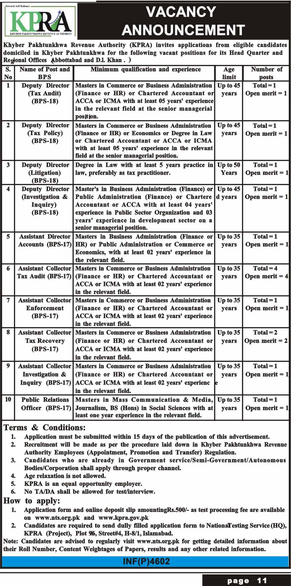 Khyber Pakhtunkhwa Revenue Authority NTS Jobs 2018 Application Form