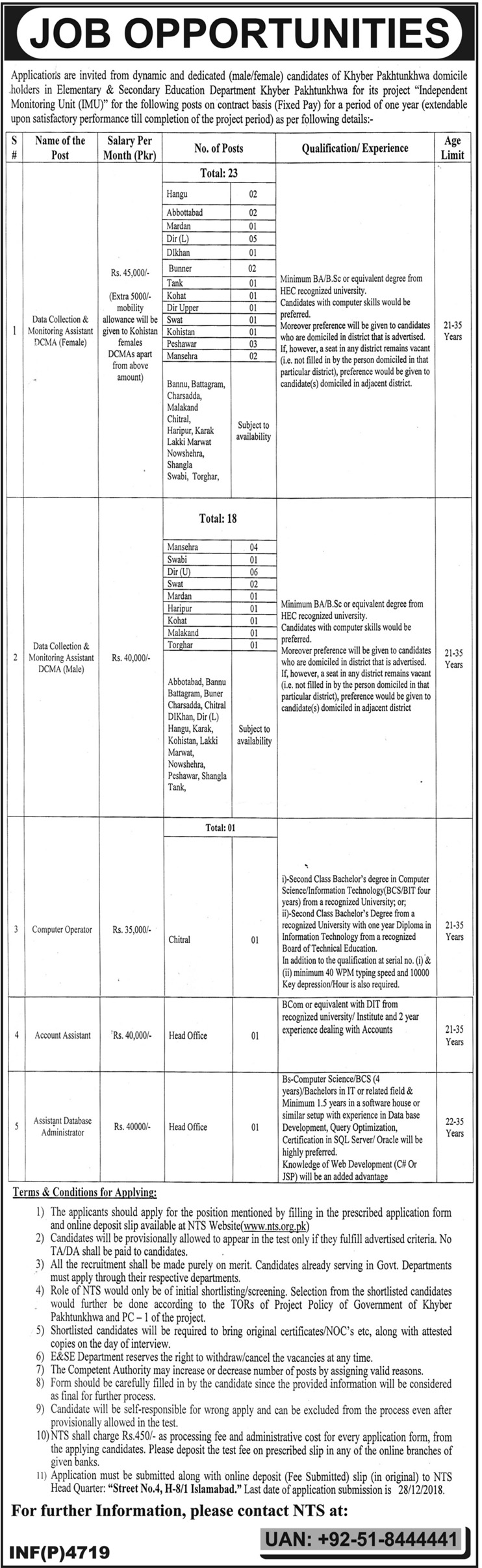 NTS Elementary & Secondary Education Department Jobs 2019 Application Form