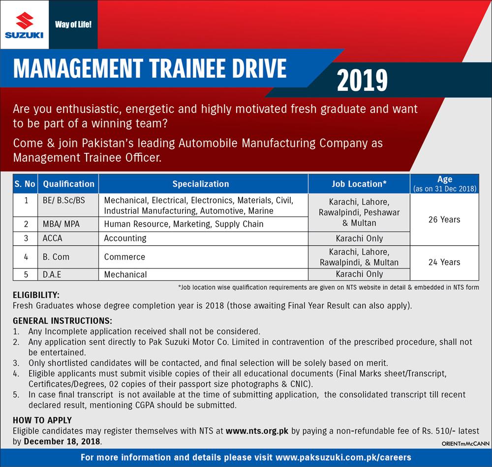 Pak Suzuki Management Trainee Jobs 2018 NTS Apply Online