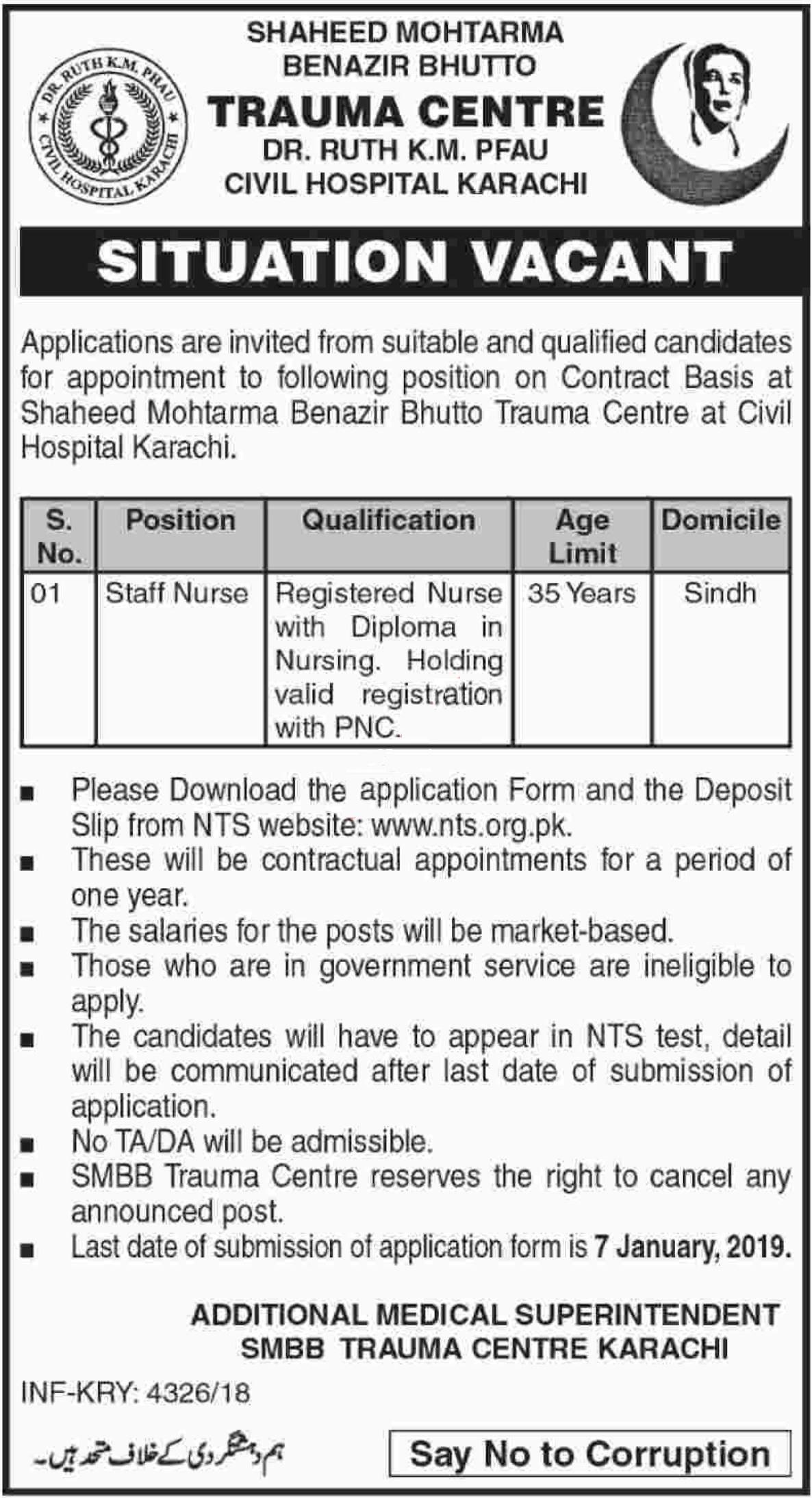 SMBB Trauma Center, Civil Hospital Jobs 2019 Application Form