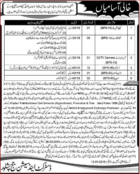 District And Session Court Peshawar NTS Jobs 2019 Application Form Download