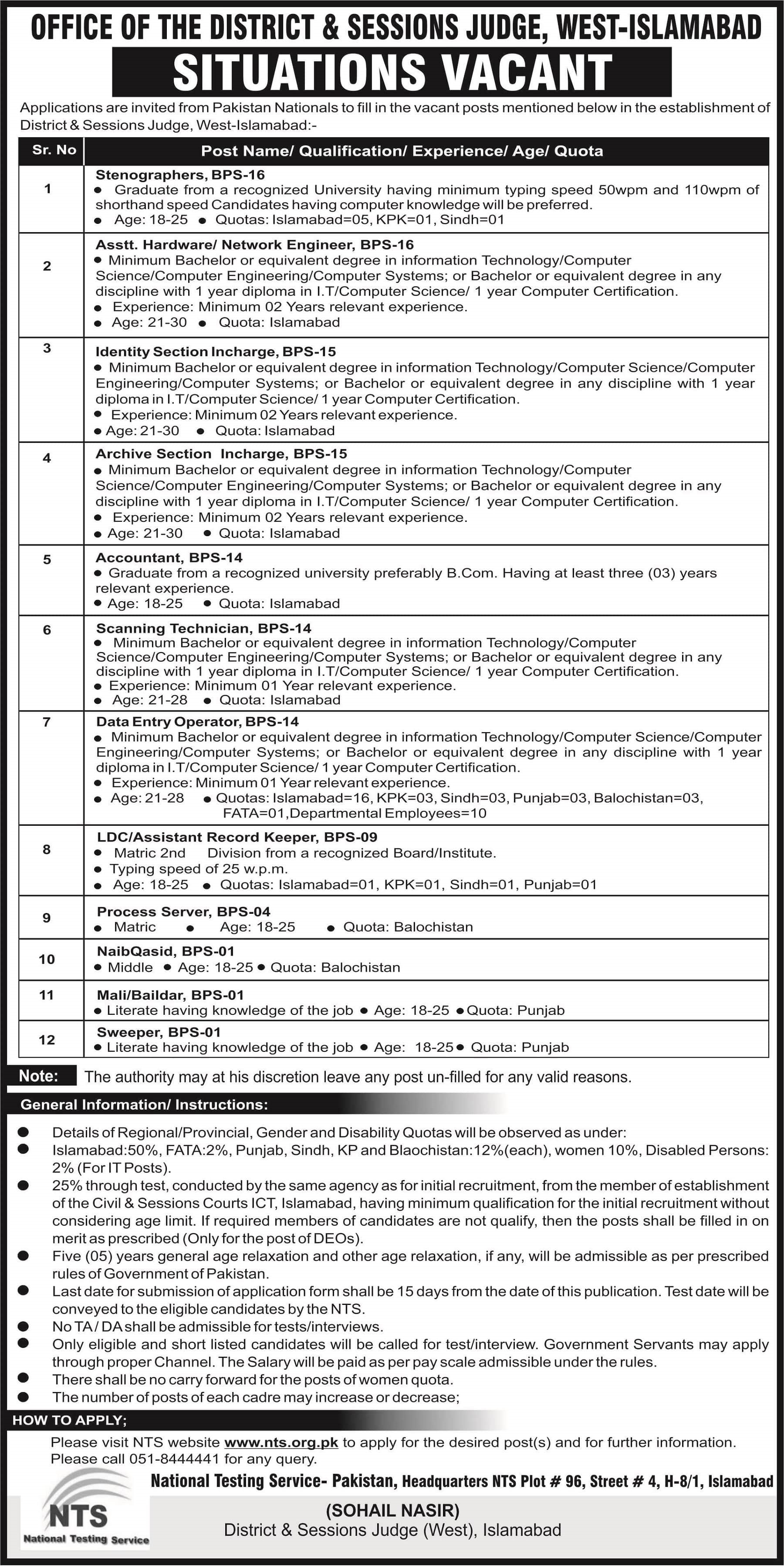 NTS District Sessions Judge Islamabad Office Jobs 2019 Application Forms Roll No Slips Syllabus Mcqs Results Download Online