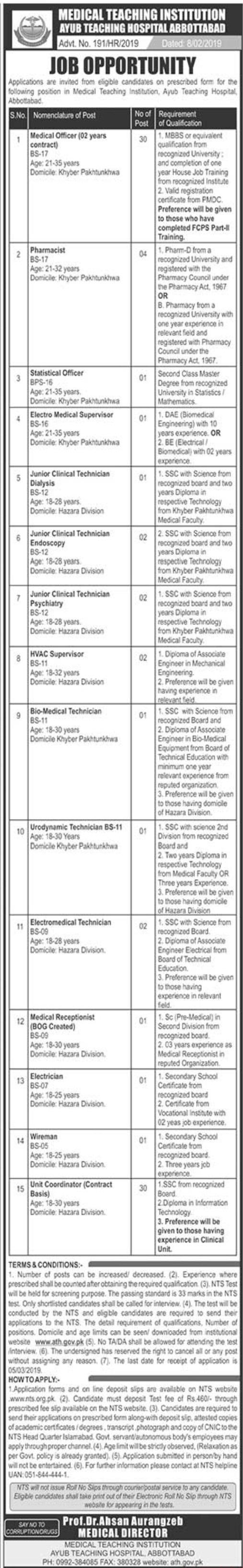 Ayub Teaching Hospital Jobs 2020 NTS Test Application Form Roll No Slip
