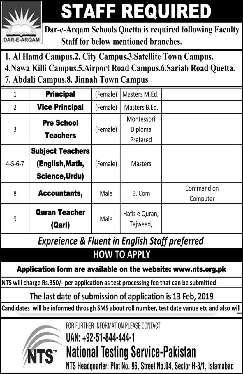 Dar E Arqam Schools Quetta NTS Jobs 2019 Application Form Eligibility Criteria