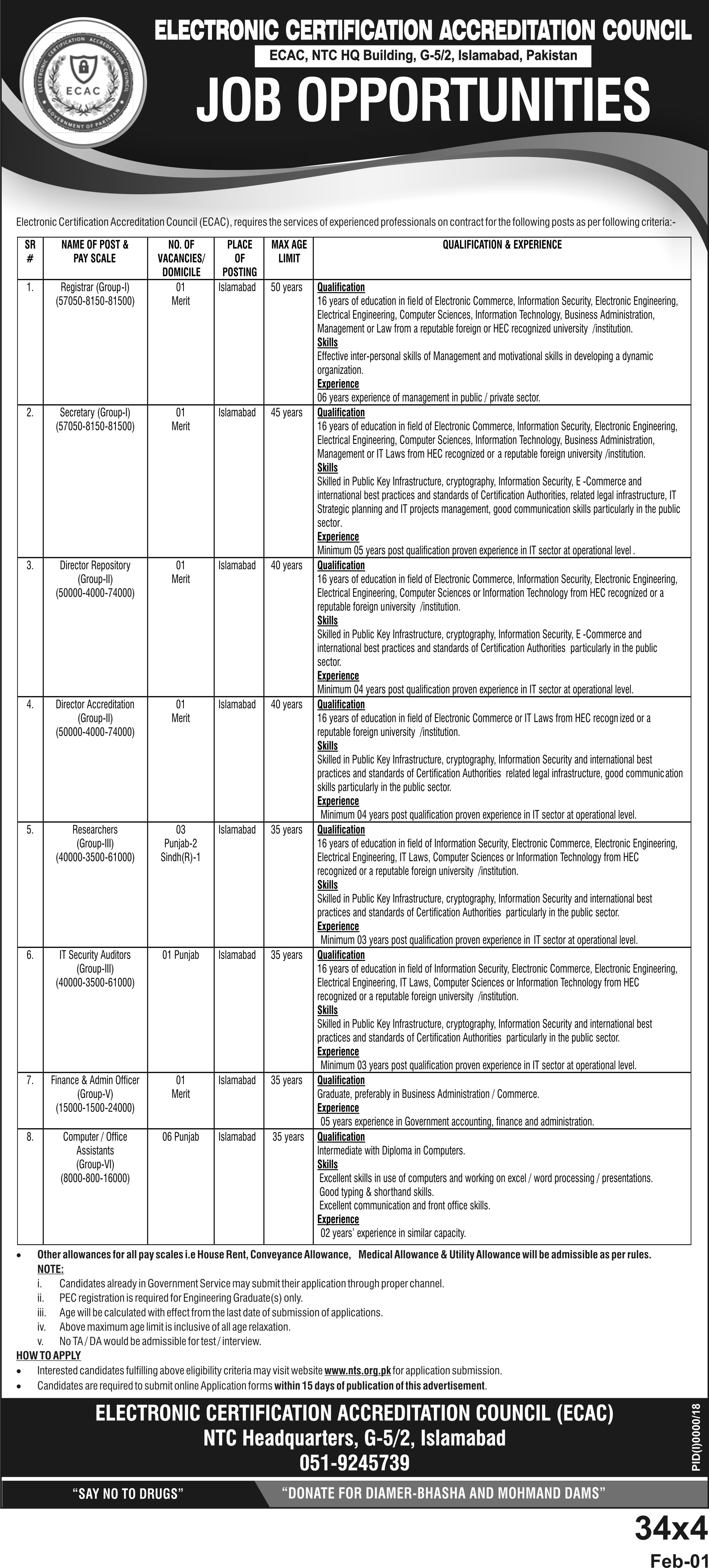 Electronic Certification Accreditation Council NTS Jobs 2020 Application Form Roll No Slip