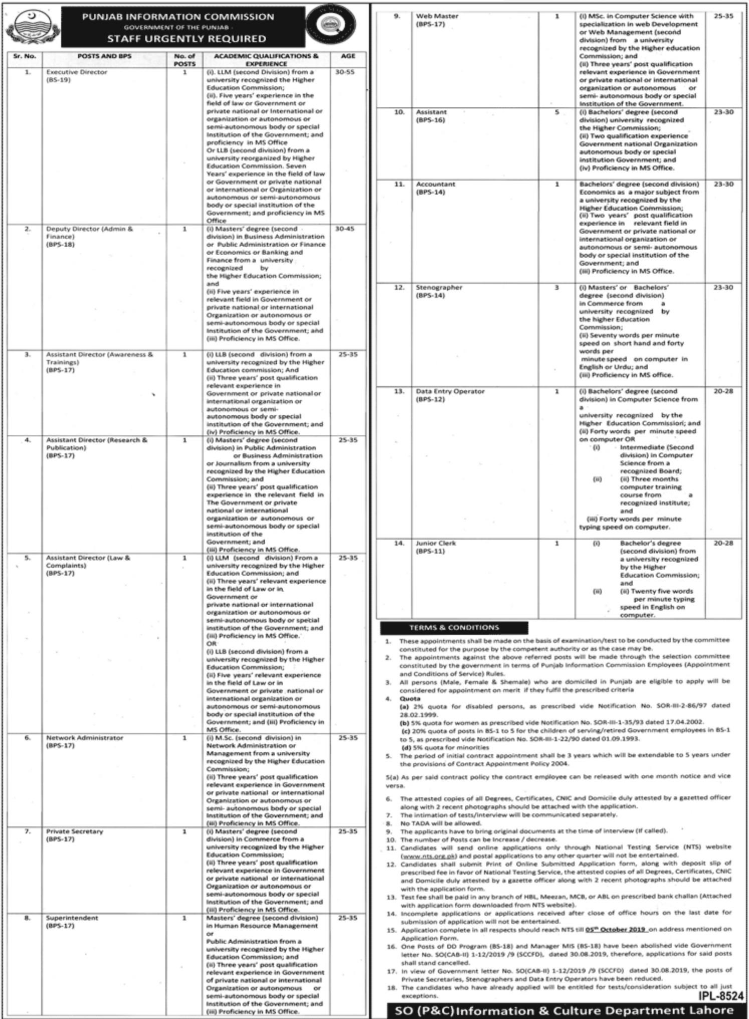 Punjab Information Commission NTS Jobs 2019 Application Form Roll No Slip
