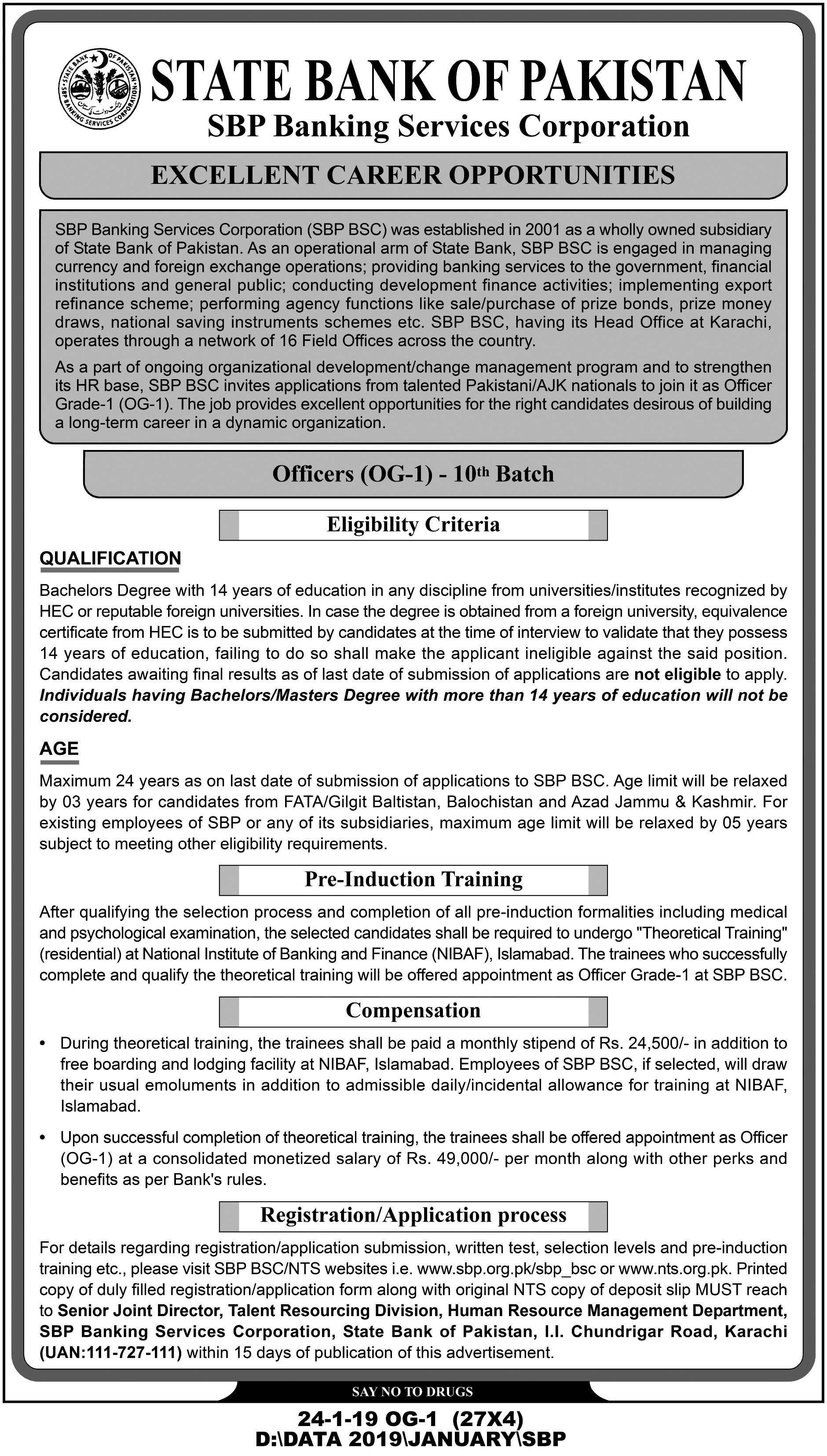 SBP Pakistan OG-1 Officers Jobs 2019 NTS Application Form Online