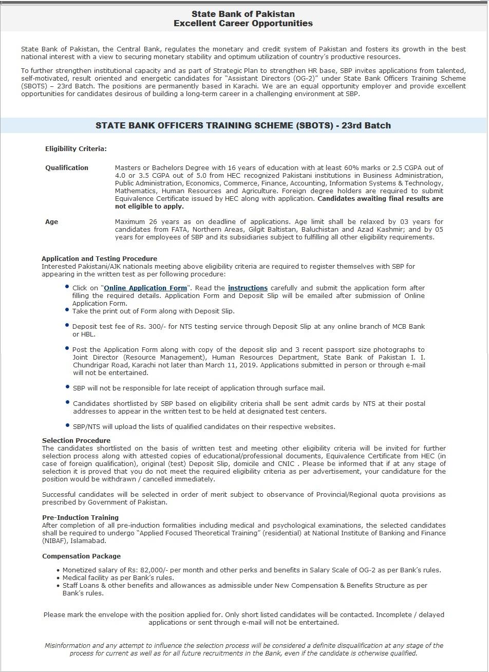 State Bank Pakistan OG-2 Jobs 2019 NTS Apply Online Roll No Slip