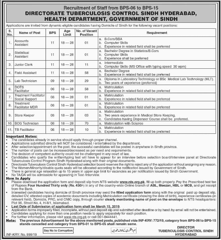 Directorate Tuberculosis Control Department Jobs 2019 NTS Application Form Online
