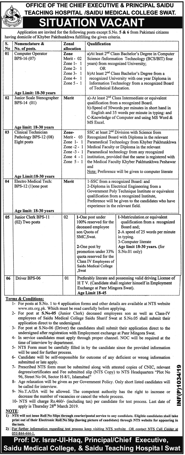 Saidu Medical College Swat Jobs 2019 NTS Application Form Download