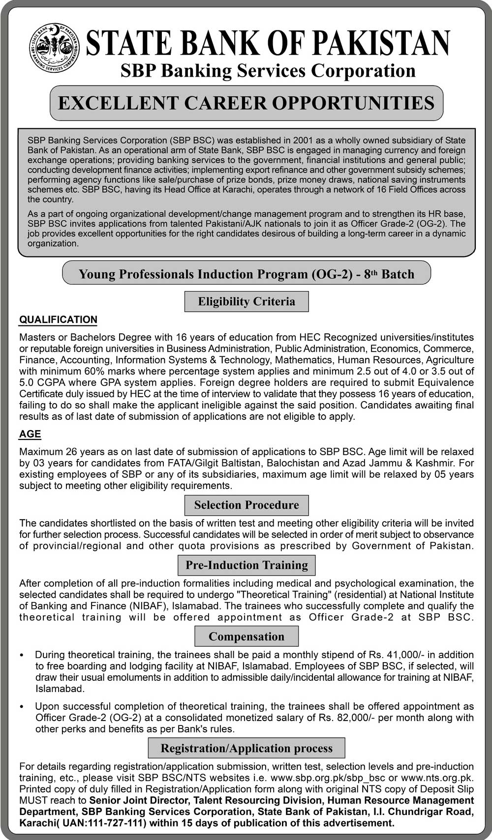State Bank Pakistan Banking Service Corporation Jobs 2019 NTS Application Form