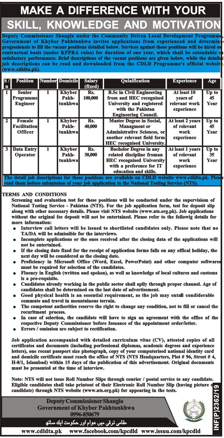 Deputy Commissioner Shangla Jobs 2019 NTS Application Form Download