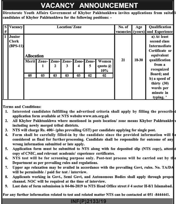 Directorate Youth Affairs KPK Jobs 2019 NTS Application Form Online