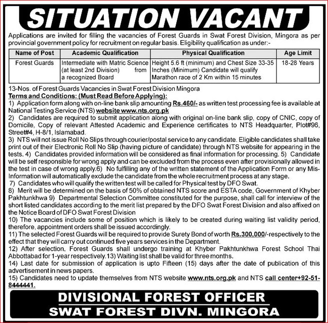 Swat Forest Division Mingora Jobs 2019 NTS Application Form Roll No Slip