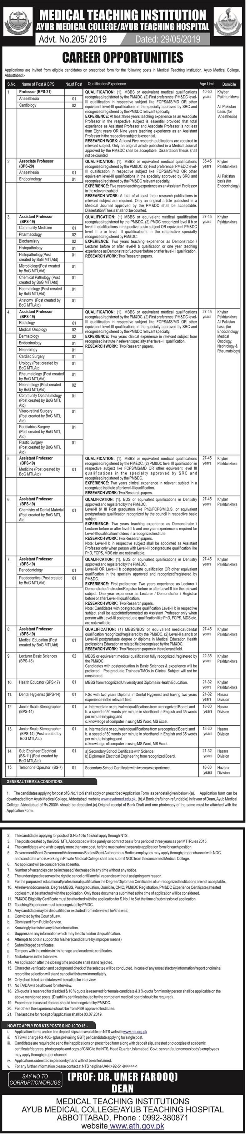 Ayub Teaching Hospital Abbottabad NTS Jobs 2019 Application form Eligibility Criteria