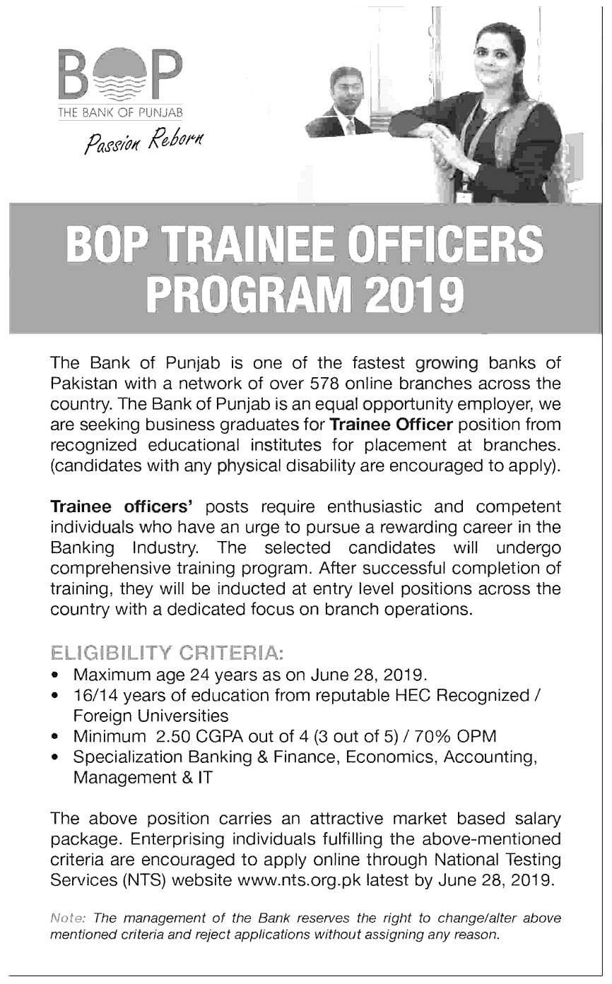 Bank of Punjab BOP NTS Trainee Officers 2019 Application Form Eligibility Criteria