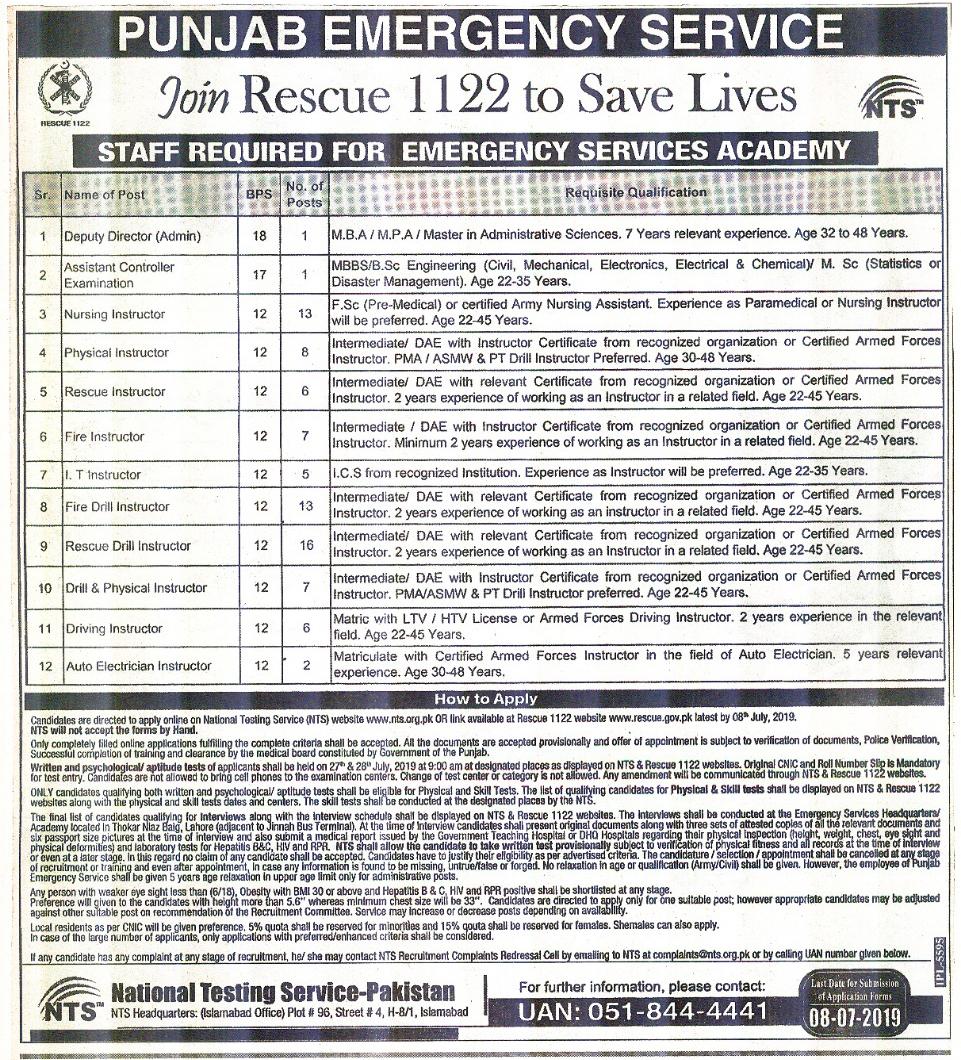 Rescue 1122 NTS Jobs 2019 Application form Eligibility Criteria