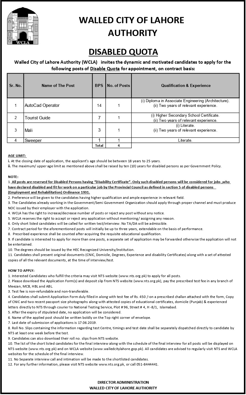 Walled City of Lahore Authority WCLA Jobs 2019 NTS Online Test Preparation