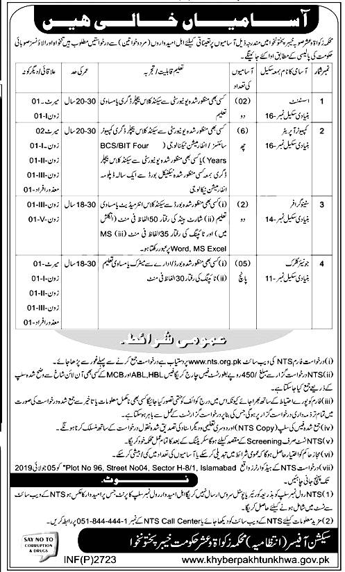 Zakat & Usher Department KPK NTS jobs 2019 Application form Eligibility Criteria