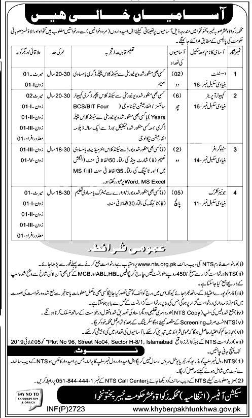 Zakat & Usher Department KPK NTS jobs 2019 Application form Eligibility Criteria