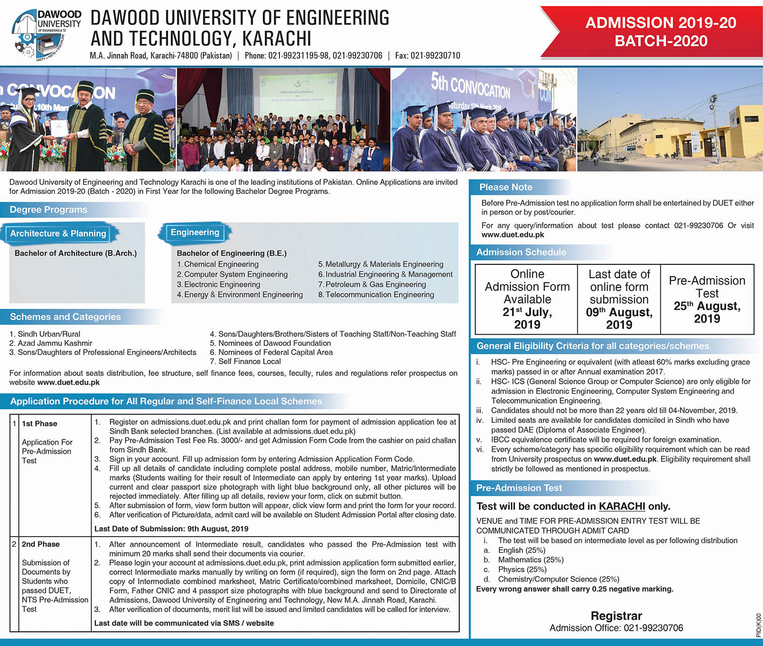 Dawood University of Engineering & Technology Karachi Admission 2019 Registration online
