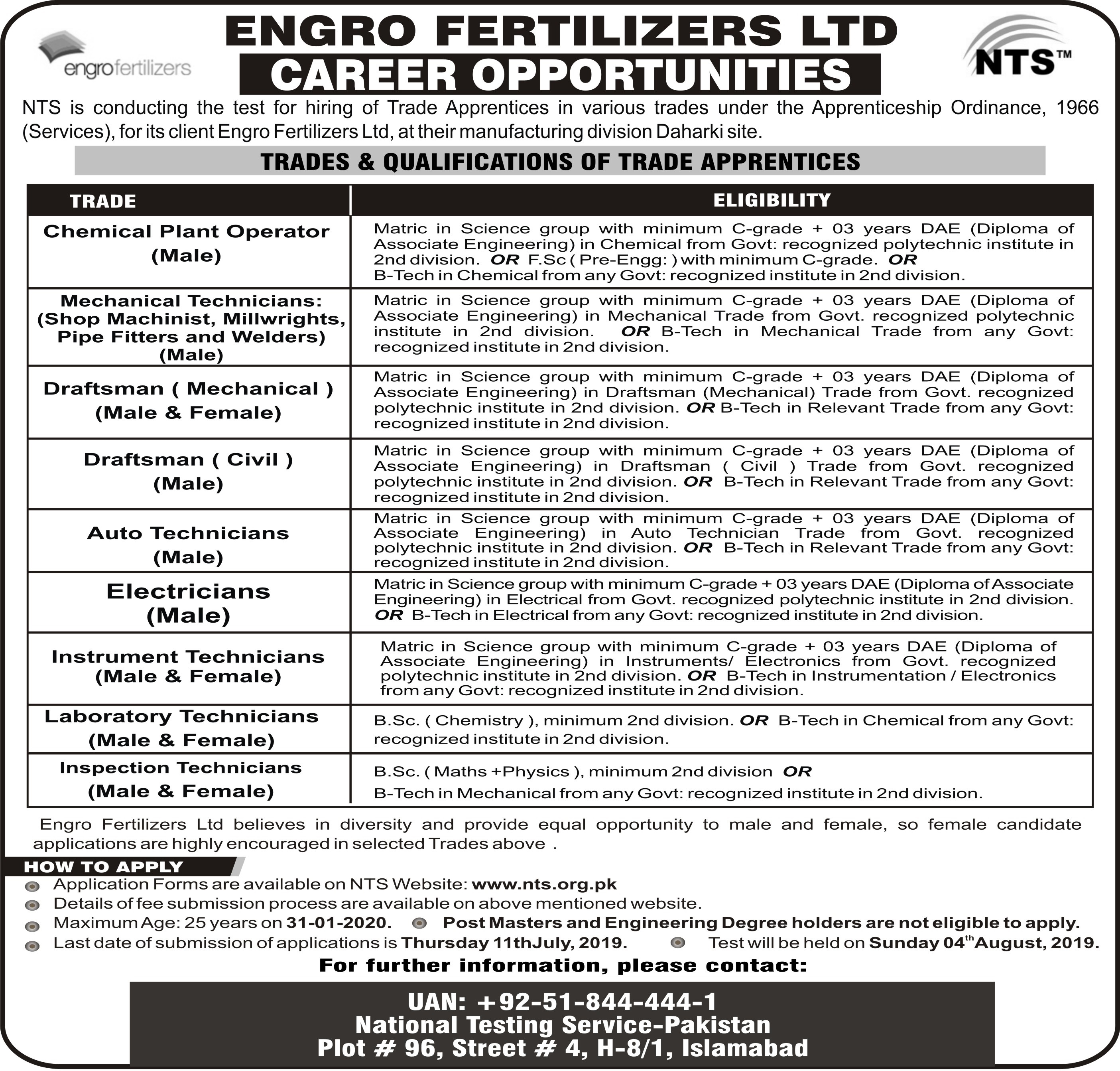 Engro Fertilizers LTD Jobs 2019 NTS Application Form Online Download