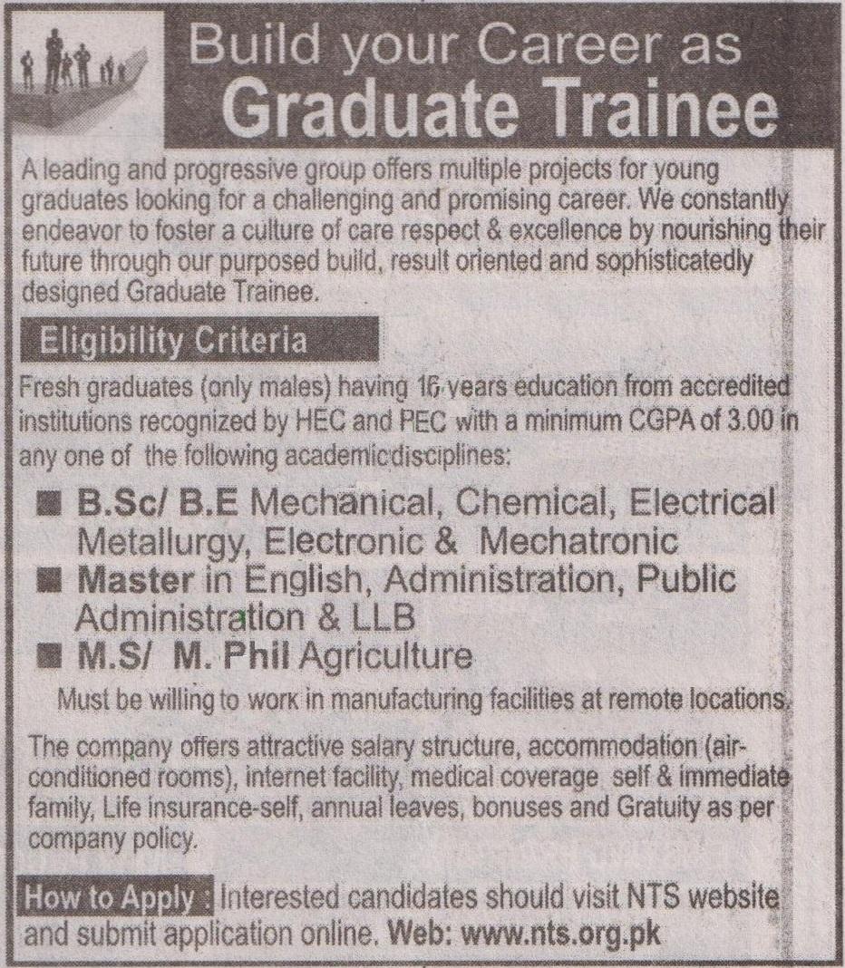 Graduate Trainee Program Jobs 2019 NTS Online Application Form