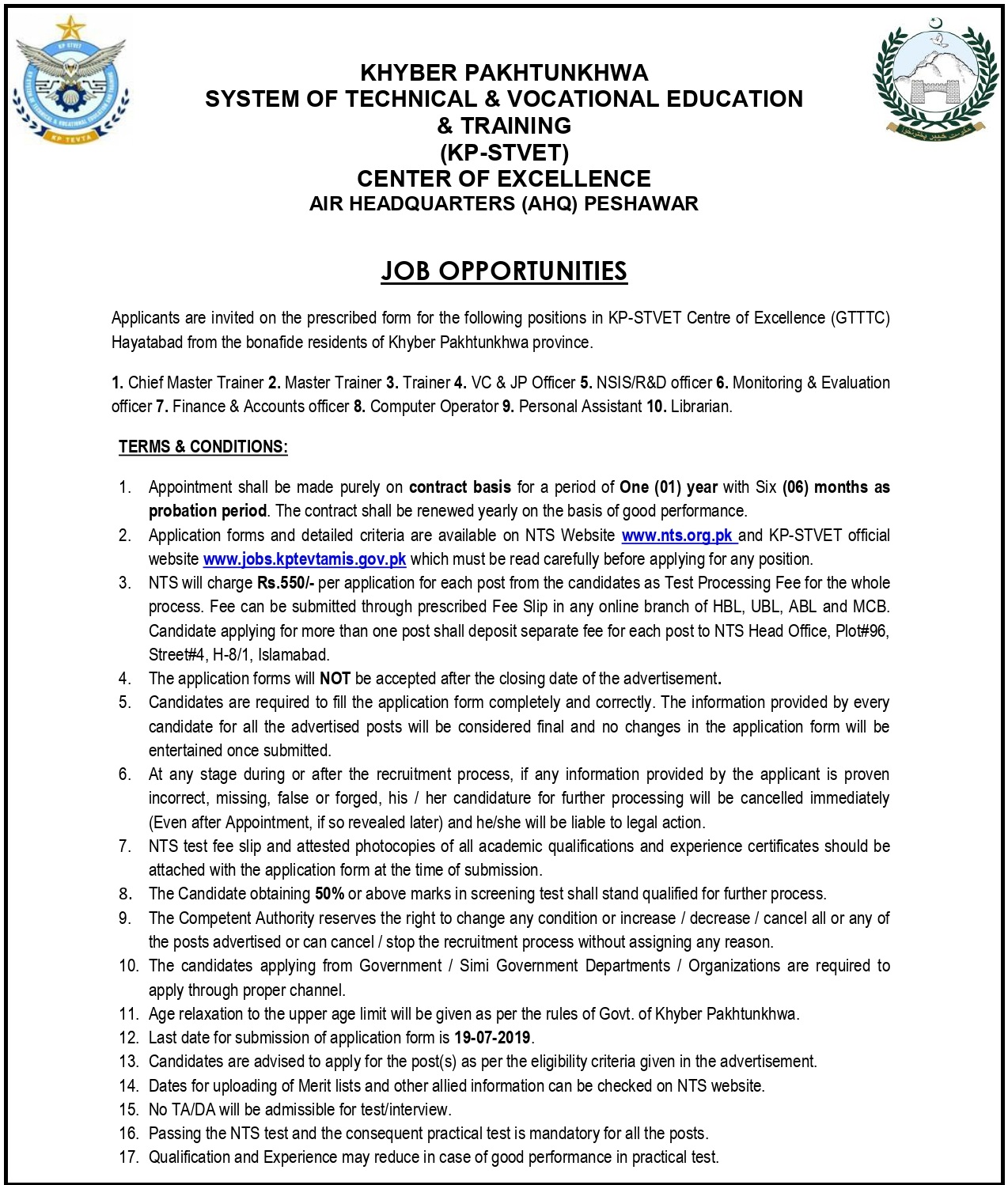 KPK System Of Technical And Vocatioinal Education And Training Jobs 2019 NTS Application Form
