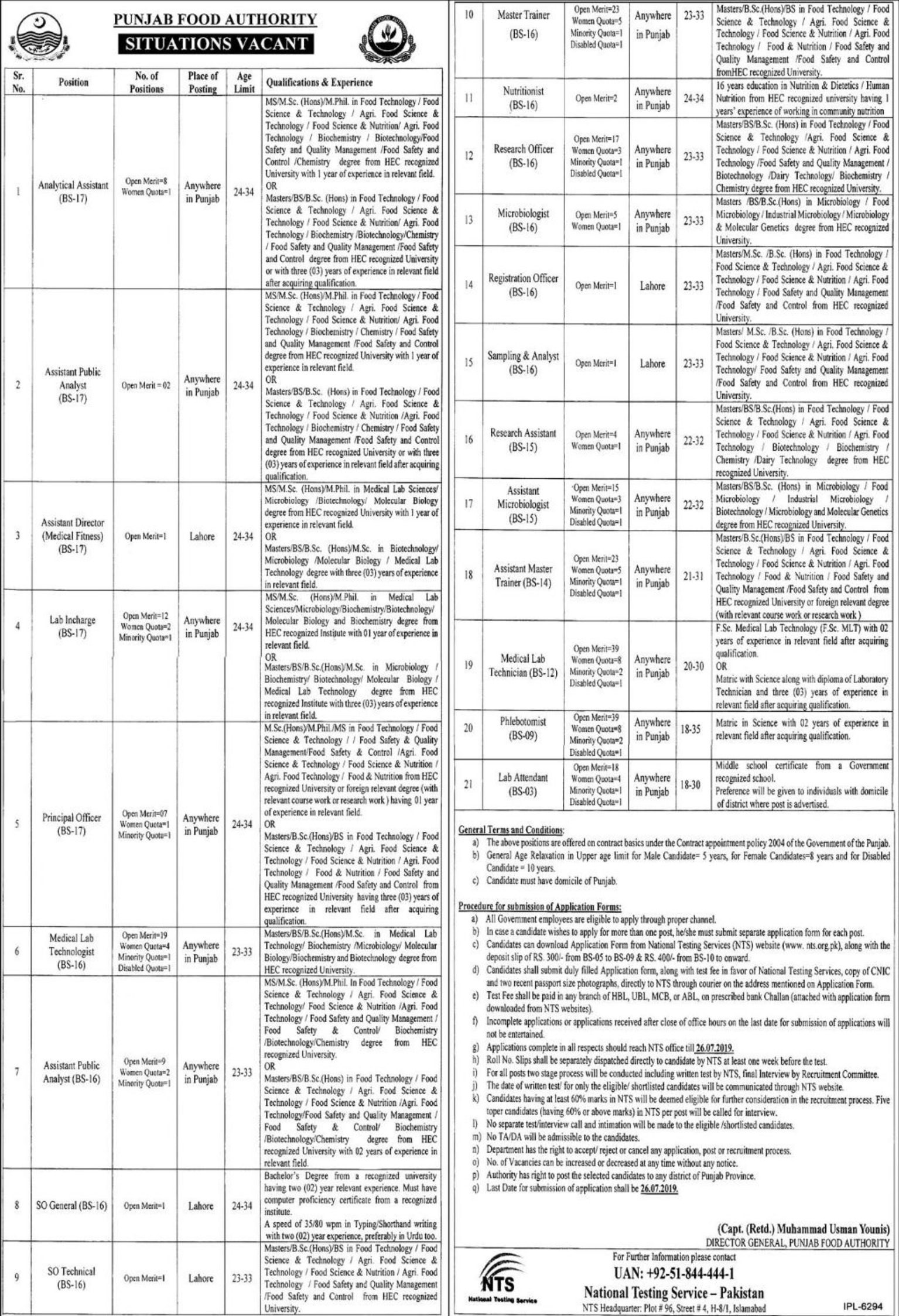 Punjab Food Authority NTS Jobs 2019 Application form eligibility criteria