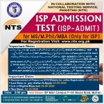 Institute of Southern Punjab ISP NTS MS MPhil Admission 2020 Registration Online Roll No Slip