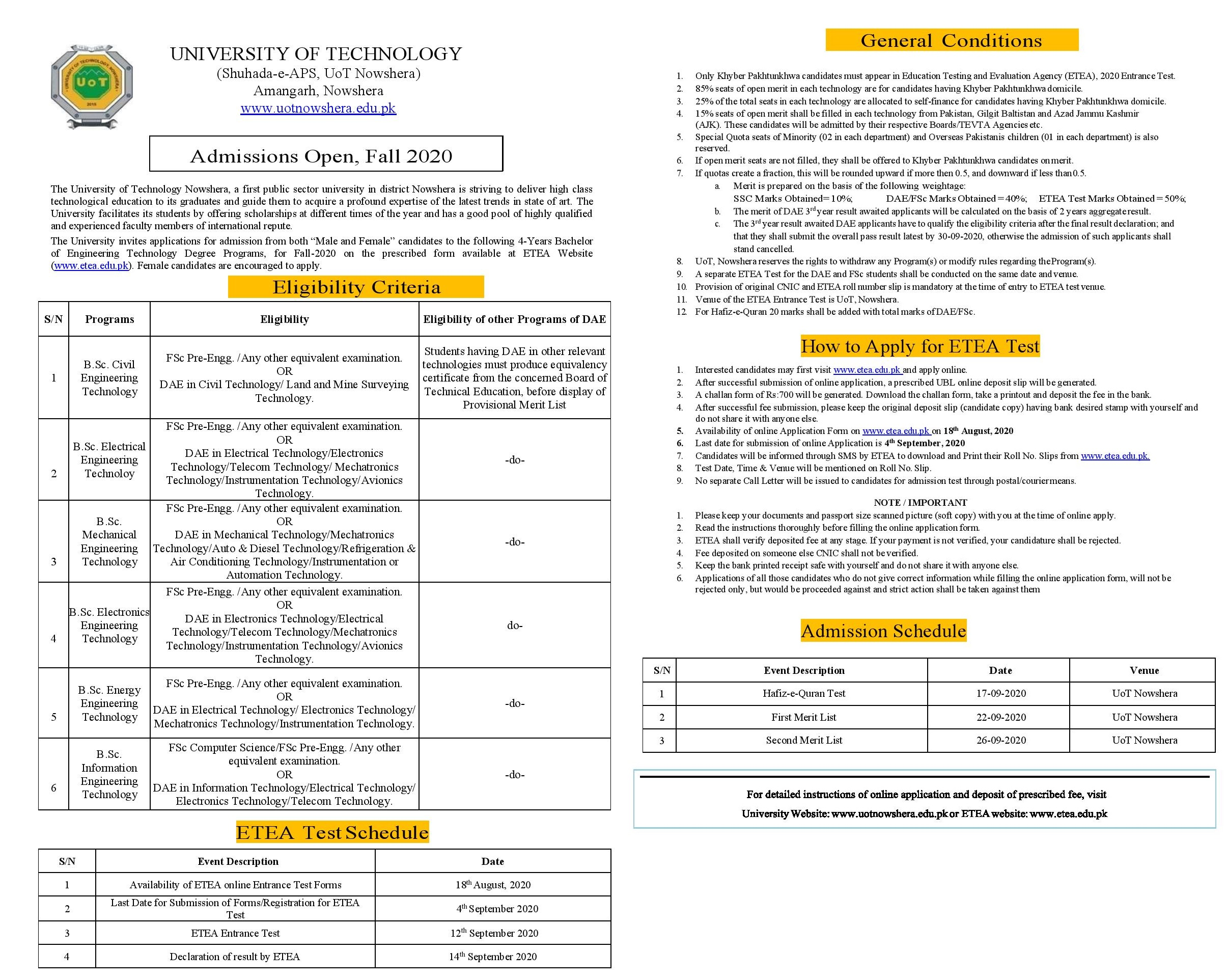 University of Technology UOT Nowshera Fall Admission 2021 Apply Online
