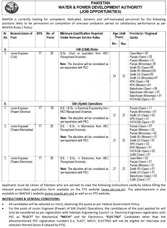 WAPDA Water & Power Development Authority PTS Jobs 2019 Application Form Roll No Slip Download
