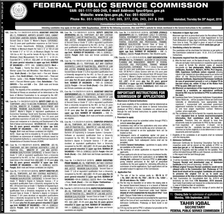 Latest FPSC September Jobs 2019 Apply Online
