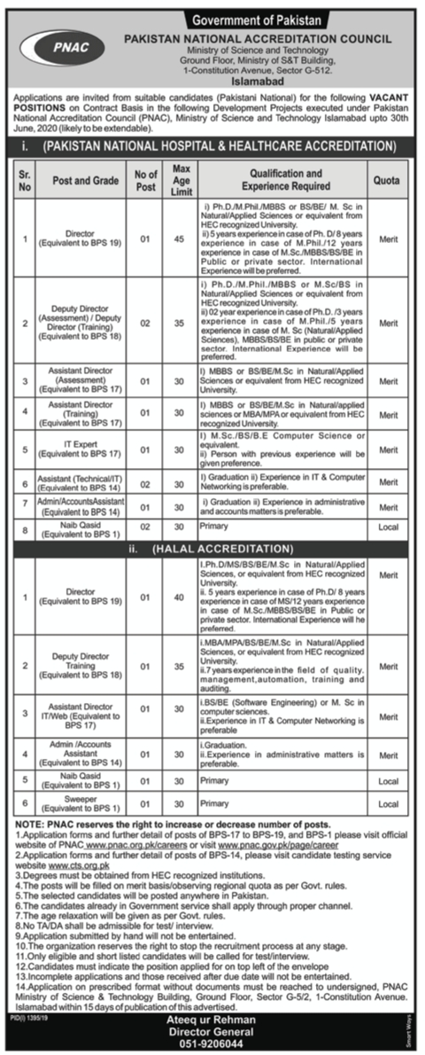 Pakistan National Accreditation Council PNAC CTS Jobs 2019 Application Form Roll No Slip
