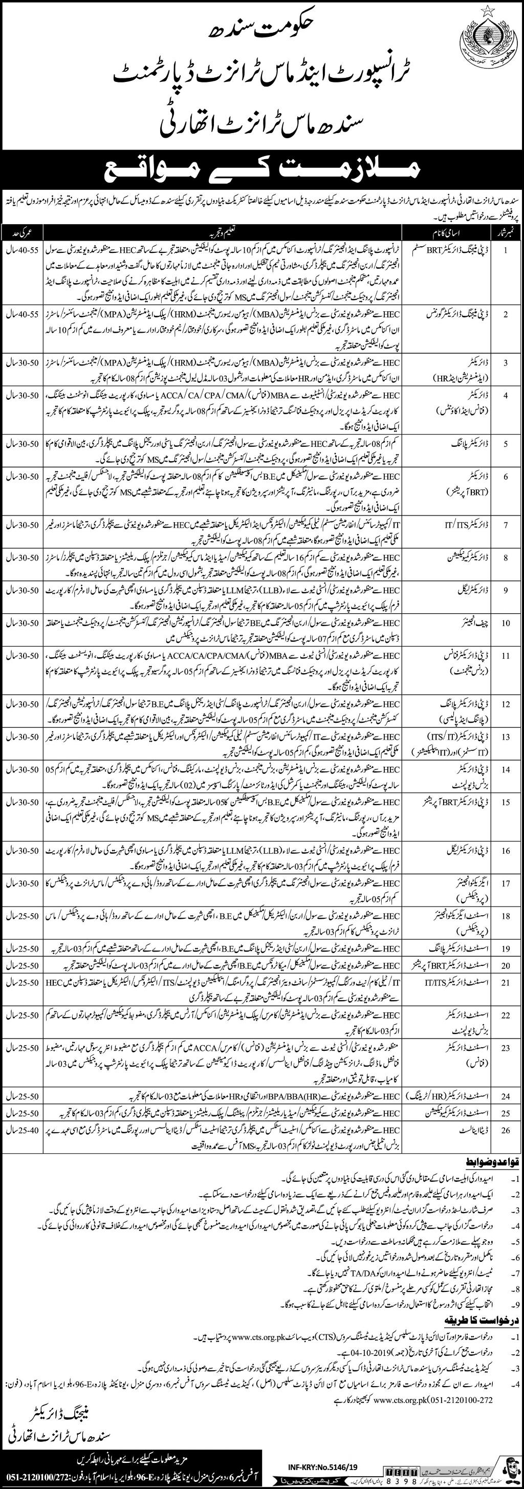 Sindh Mass Transit Authority SMTA CTS Jobs 2019 Application Form Roll No Slip Download