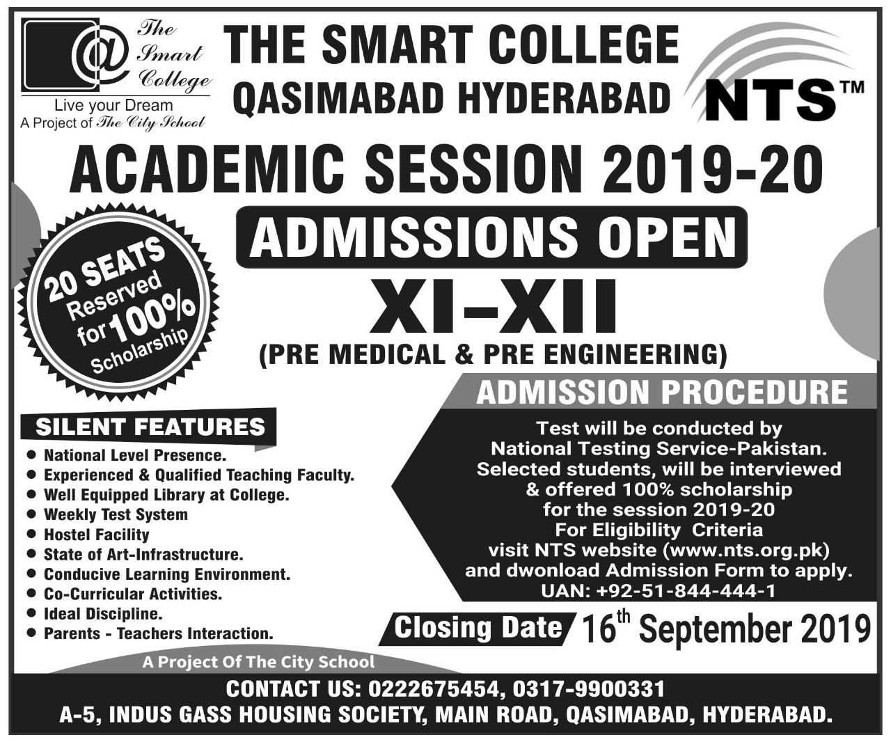 The Smart College Hyderabad NTS Admission 2019 Application Form Roll No Slip Download