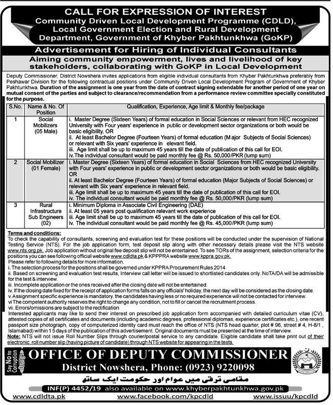Deputy Commissioner Nowshera CDLD NTS Jobs 2019 Application Form Roll No Slip