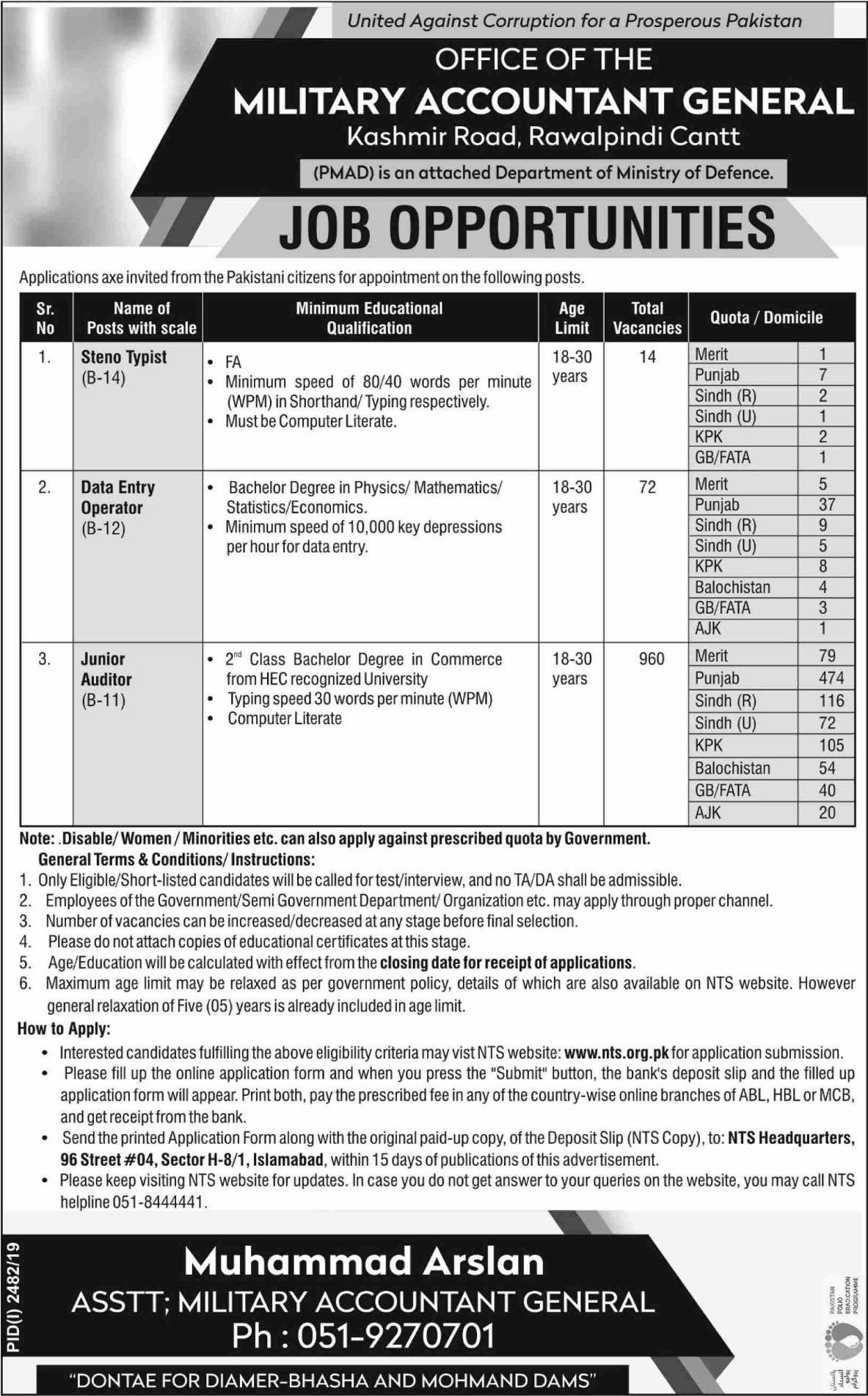 NTS Military Accountant General Jobs 2019 Apply Online Roll No Slip download online