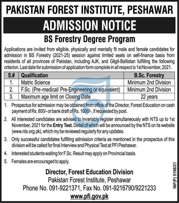 Pakistan Forest Institute PFI Peshawar NTS Admission 2021 Test Roll No Slip Download