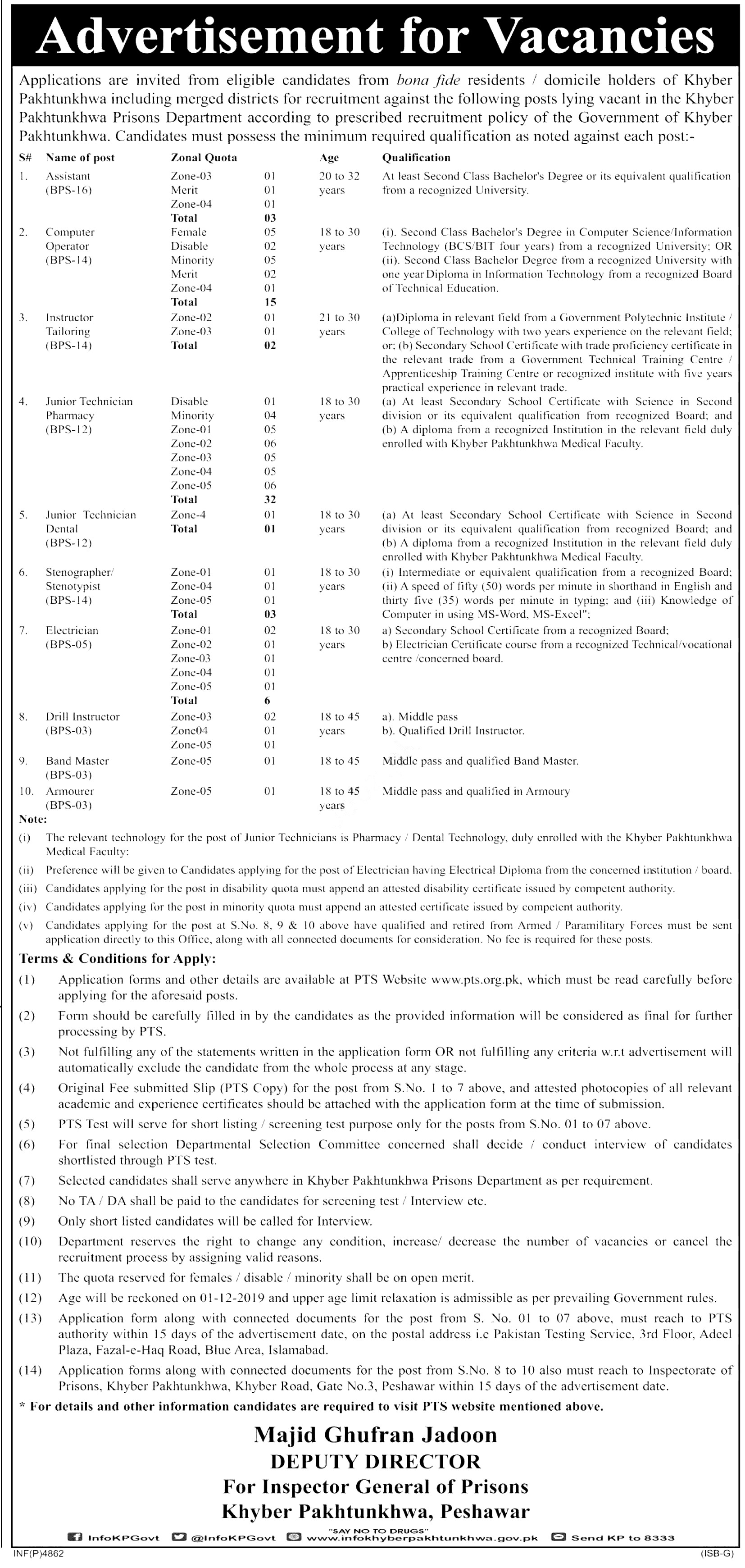 KPK Prisons Department PTS Jobs 2019 Application Form Roll No Slip download online