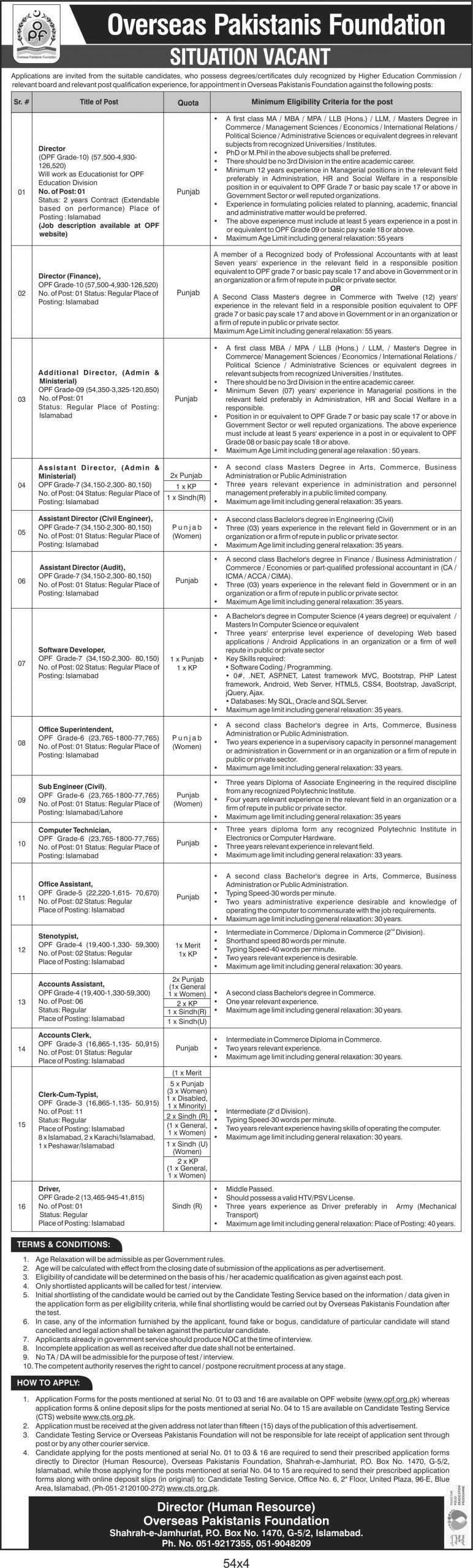 Overseas Pakistanis Foundation OPF CTS Jobs 2021 Application Form Eligibility Criteria Roll No Slip Download online