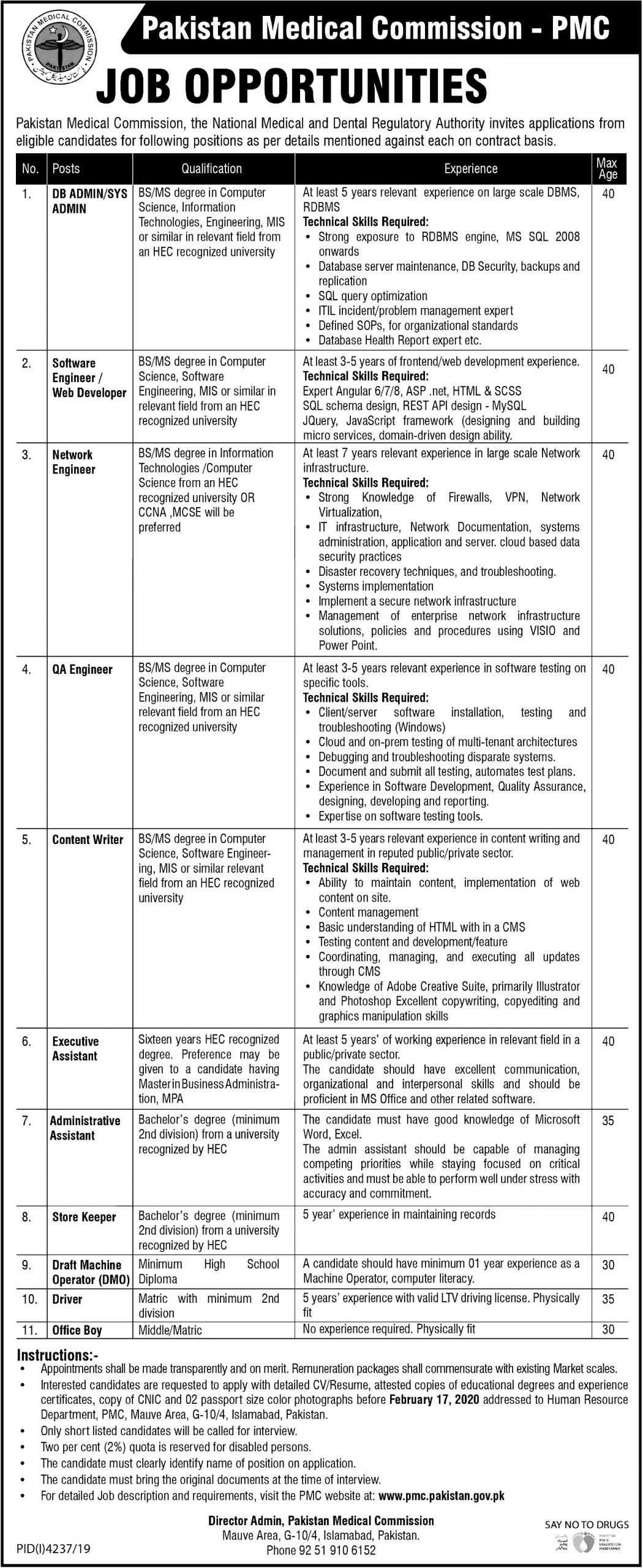 Pakistan Medical Commission PMC Jobs 2021 Application Form Eligibility Criteria