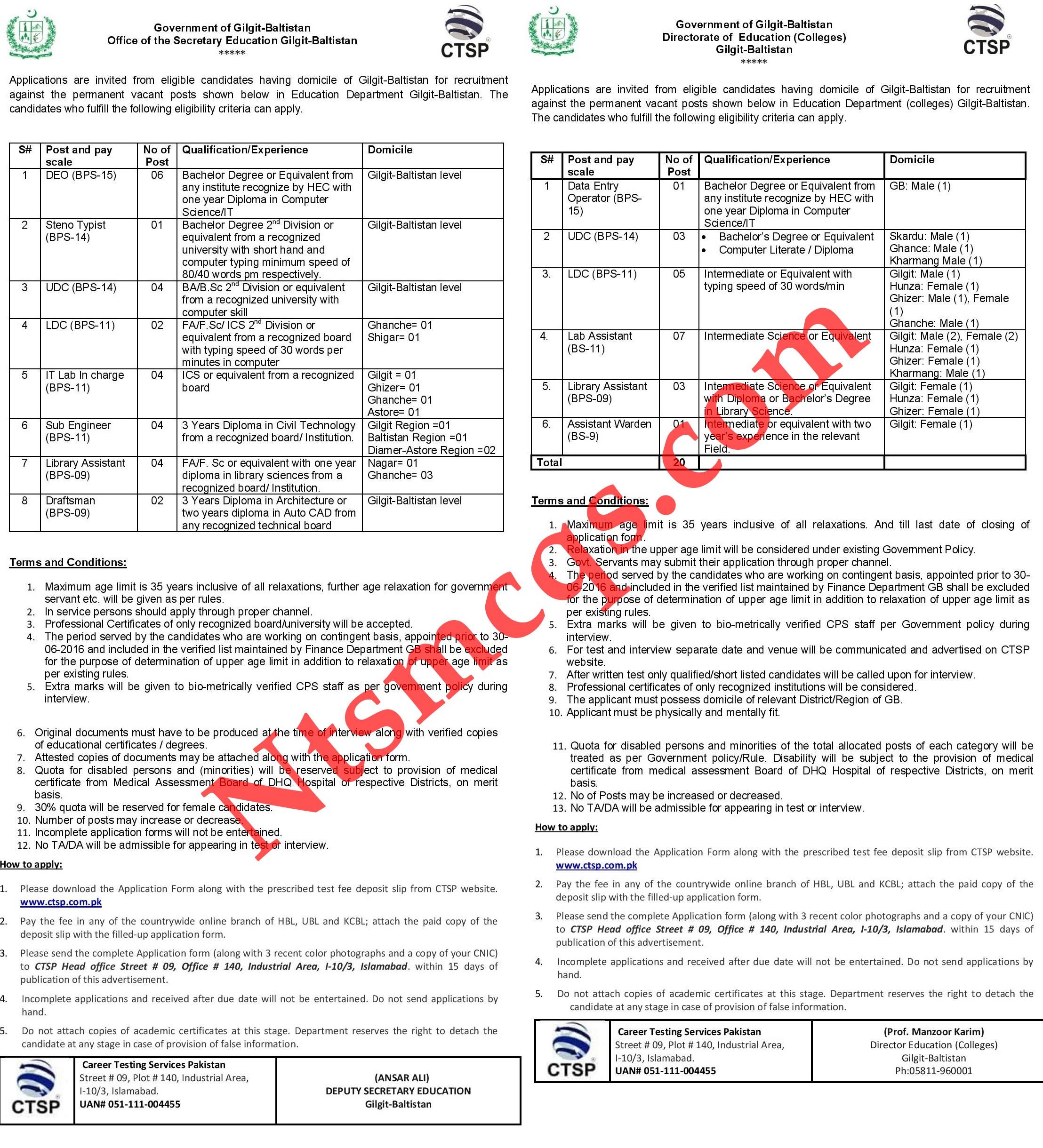 Directorate of Education College Admin Staff Gilgit Baltistan Jobs 2020 CTSP Application Form