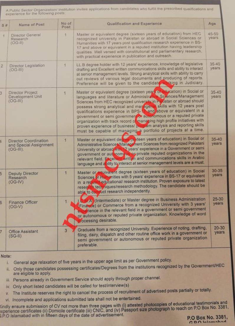 Public Sector Organization Jobs 2021 OTS Roll No Slip Download online